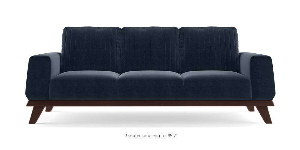 Granada Sofa (Sea Port Blue Velvet) (3-seater Custom Set - Sofas, None Standard Set - Sofas, Fabric Sofa Material, Regular Sofa Size, Regular Sofa Type, Sea Port Blue Velvet) by Urban Ladder