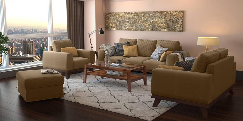 Granada Sofa (Tuscan Tan Velvet) (3-seater Custom Set - Sofas, None Standard Set - Sofas, Fabric Sofa Material, Regular Sofa Size, Regular Sofa Type, Tuscan Tan Velvet) by Urban Ladder