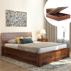 Valencia Hydraulic Storage Bed (Teak Finish, King Bed Size) by Urban Ladder