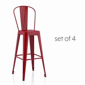 Getty Bar Chair - Set Of 4 (Red) by Urban Ladder