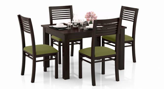 Arabia 4-to-6 Extendable - Zella 4 Seater Dining Table Set (Mahogany Finish, Avocado Green) by Urban Ladder - Design 1 Full View - 223560