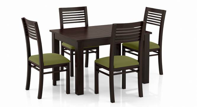 Arabia 4-to-6 Extendable - Zella 4 Seater Dining Table Set (Mahogany Finish, Avocado Green) by Urban Ladder - Front View Design 1 - 223561