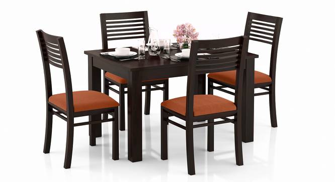 Arabia 4-to-6 Extendable - Zella 4 Seater Dining Table Set (Mahogany Finish, Burnt Orange) by Urban Ladder - Design 1 Full View - 223579
