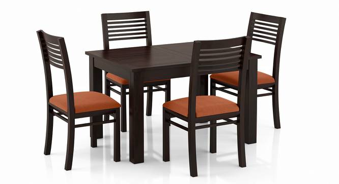 Arabia 4-to-6 Extendable - Zella 4 Seater Dining Table Set (Mahogany Finish, Burnt Orange) by Urban Ladder - Front View Design 1 - 223580