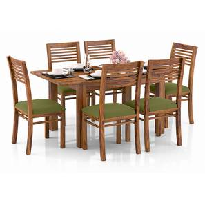 Arabia 4-to-6 Extendable - Zella 6 Seater Dining Table Set (Teak Finish, Avocado Green) by Urban Ladder