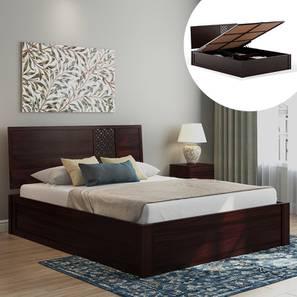 Alaca Hydraulic Storage Bed (Mahogany Finish, King Bed Size) by Urban Ladder