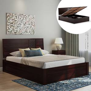 Alaca Hydraulic Storage Bed (Mahogany Finish, Queen Bed Size) by Urban Ladder