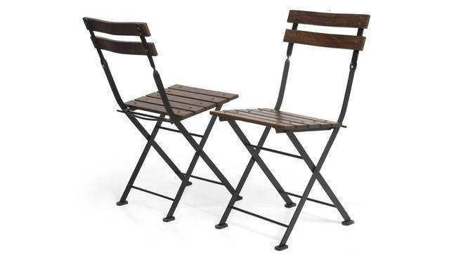 Masai Patio Chairs - Set of Two (Teak Finish) (Black) by Urban Ladder