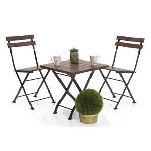 Masai Patio Table Set (Teak Finish) (Black) by Urban Ladder - - 2287