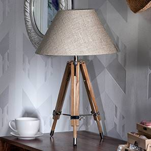 Kepler Tripod Table Lamp (Natural Base Finish, Natural Shade Color, Conical Shade Shape) by Urban Ladder - - 22885