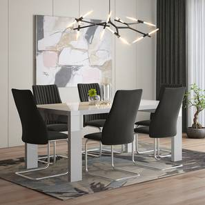 Kariba - Ingrid 6 Seater High Gloss Dining Table Set (Dark Grey, White High Gloss Finish) by Urban Ladder - Front View Design 1 - 230106