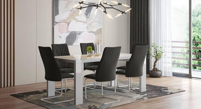 Kariba - Ingrid 6 Seater High Gloss Dining Table Set (Dark Grey, White High Gloss Finish) by Urban Ladder - Design 1 Full View - 230105