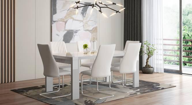 Kariba - Ingrid 6 Seater High Gloss Dining Table Set (White, White High Gloss Finish) by Urban Ladder - Design 1 Full View - 230116