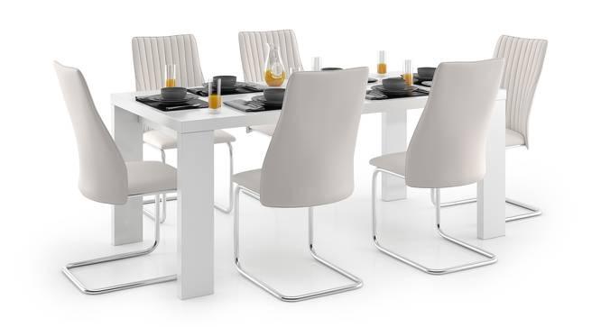 Kariba - Ingrid 6 Seater High Gloss Dining Table Set (White, White High Gloss Finish) by Urban Ladder