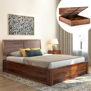 Terence Hydraulic Storage Bed (Teak Finish, King Bed Size) by Urban Ladder