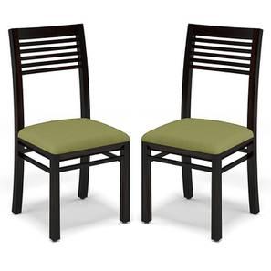 Zella Dining Chairs - Set of 2 (Mahogany Finish, Avocado Green) by Urban Ladder - - 23017