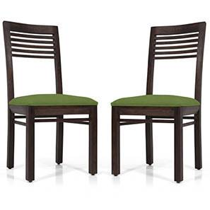 Zella Dining Chairs - Set of 2 (Mahogany Finish, Avocado Green) by Urban Ladder