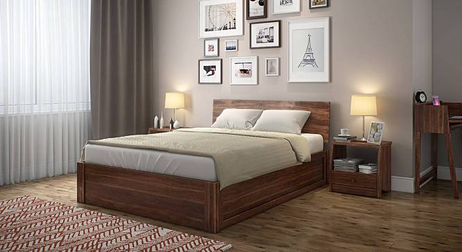 Boston Hydraulic Storage Bed (Teak Finish, King Bed Size) by Urban Ladder