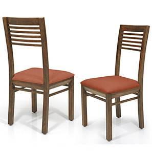 Zella Dining Chairs - Set of 2 (Teak Finish, Burnt Orange) by Urban Ladder - - 23030