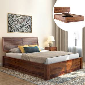 Terence Storage Bed (Solid Wood) (Teak Finish, Queen Bed Size, Box Storage Type) by Urban Ladder - Design 1 Full View - 230371