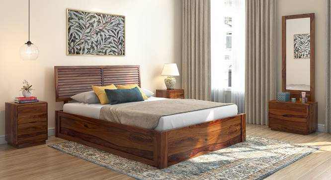 Terence Storage Bed (Teak Finish, Queen Bed Size, Box Storage Type) by Urban Ladder