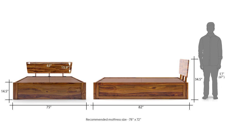 Marieta storage bed teak finish queen bed size dim 186