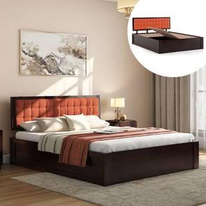 Florence Storage Bed (Mahogany Finish, King Bed Size, Lava, Box Storage Type) by Urban Ladder