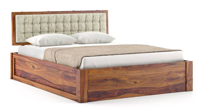 Florence Storage Bed (Teak Finish, Queen Bed Size, Box Storage Type, Monochrome Paisley) by Urban Ladder