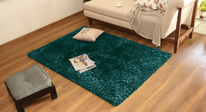 "Linton Shaggy Rug (122 x 183 cm  (48"" x 72"") Carpet Size, Teal) by Urban Ladder - Design 1 Full View - 230455"