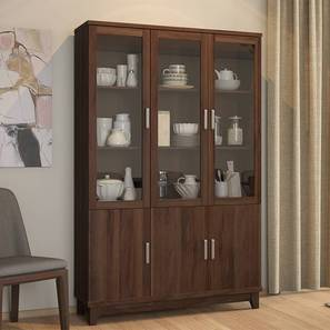 Alton Display Cabinet with 6 Doors (Walnut Finish) by Urban Ladder