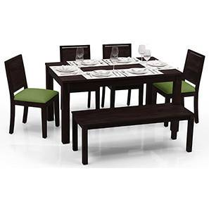 Arabia - Oribi 6 Seater Dining Table Set (With Bench) (Mahogany Finish, Avocado Green) by Urban Ladder - - 23064