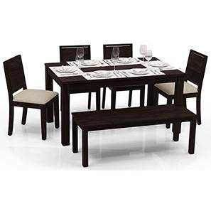 Arabia - Oribi 6 Seater Dining Table Set (With Bench) (Mahogany Finish, Wheat Brown) by Urban Ladder - - 23076