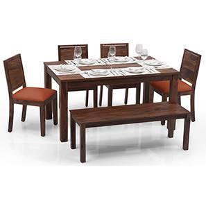 Arabia - Oribi 6 Seater Dining Table Set (With Bench) (Teak Finish, Burnt Orange) by Urban Ladder - - 23088
