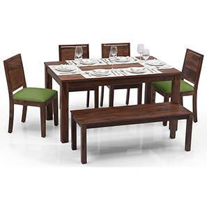 Arabia - Oribi 6 Seater Dining Table Set (With Bench) (Teak Finish, Avocado Green) by Urban Ladder - - 23100