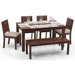 Arabia - Oribi 6 Seater Dining Table Set (With Bench) (Teak Finish, Wheat Brown) by Urban Ladder - - 23112