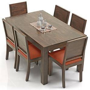 Arabia - Oribi 6 Seater Dining Table Set (Teak Finish, Burnt Orange) by Urban Ladder