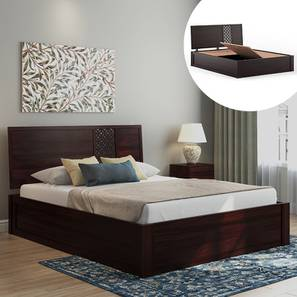 Alaca Storage Bed (Mahogany Finish, Queen Bed Size, Box Storage Type) by Urban Ladder