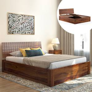 Valencia Storage Bed (Solid Wood) (Teak Finish, Queen Bed Size, Box Storage Type) by Urban Ladder - Design 1 Full View - 232029