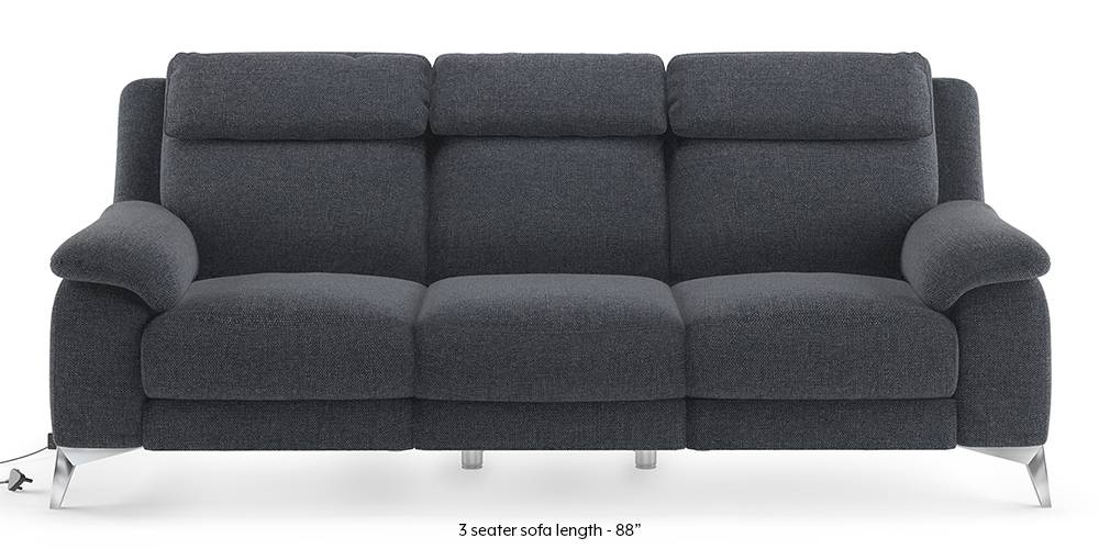 Emila Motorized Recliner Sofa Set (Blue) (Blue, None Custom Set - Sofas, 3-2 Set Standard Set - Sofas, Fabric Sofa Material, Regular Sofa Size, Regular Sofa Type) by Urban Ladder