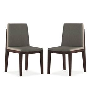 Galatea Dining Chair - Set Of 2 (Grey, American Walnut Finish) by Urban Ladder - Front View Design 1 - 232166