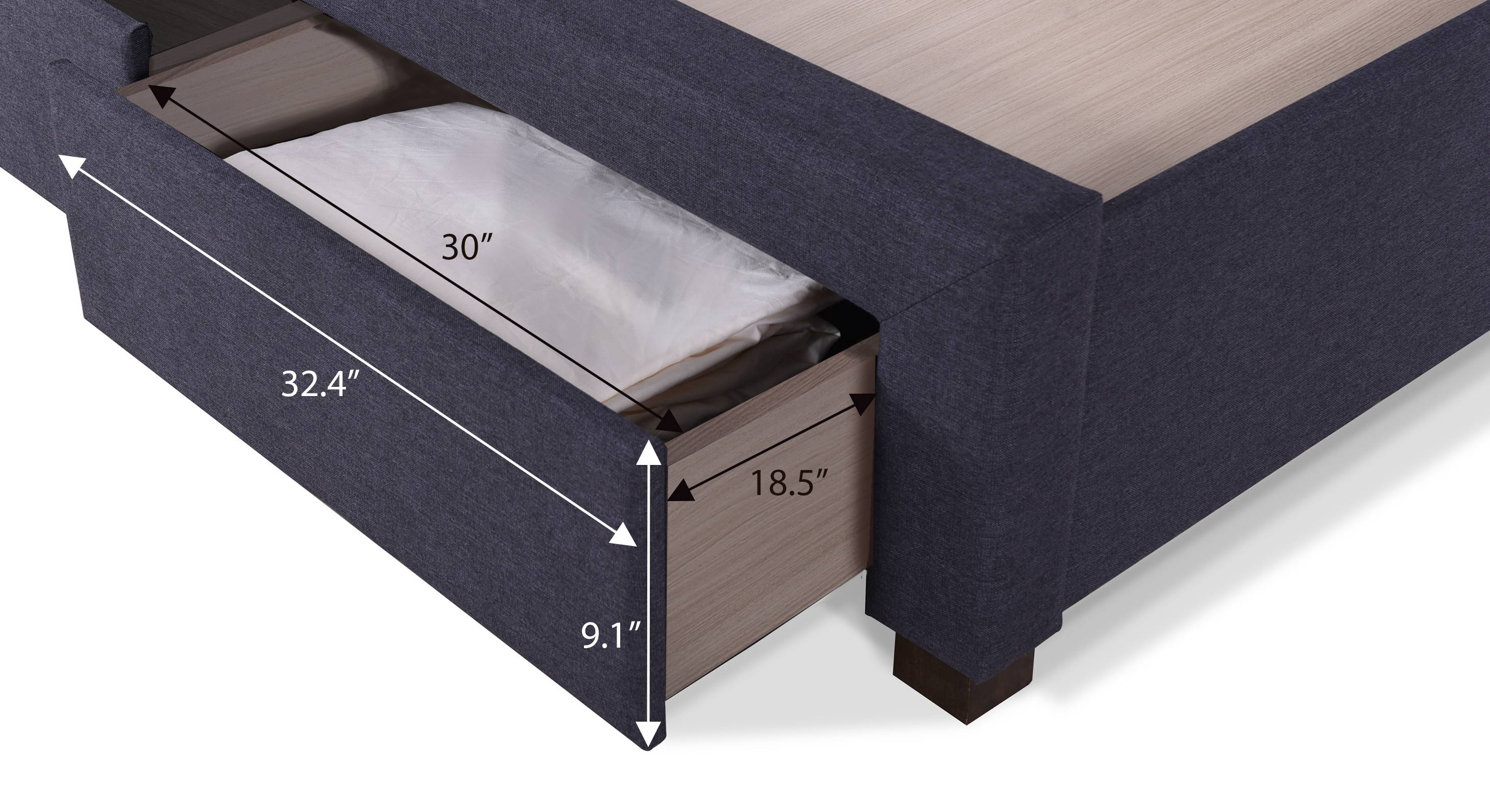 Cassiope upholstered storage bed king