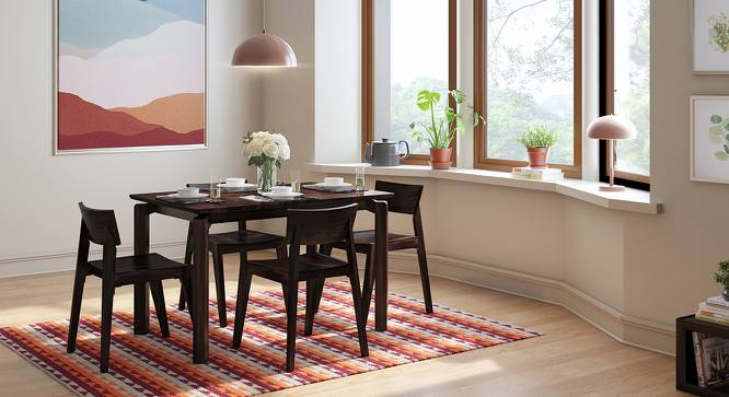Catria - Gordon 4 Seater Dining Table Set (Mahogany Finish) by Urban Ladder