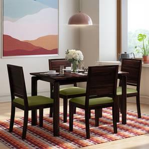 Catria - Oribi 4 Seater Dining Table Set (Mahogany Finish, Avocado Green) by Urban Ladder
