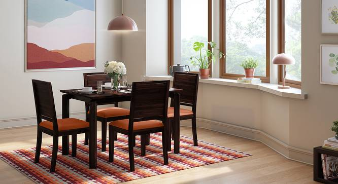 Catria - Oribi 4 Seater Dining Table Set (Mahogany Finish, Burnt Orange) by Urban Ladder