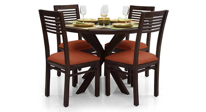 Liana - Zella 4 Seater Dining Table Set (Mahogany Finish, Burnt Orange) by Urban Ladder - - 23243