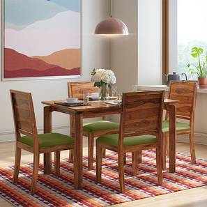 Catria - Oribi 4 Seater Dining Table Set (Teak Finish, Avocado Green) by Urban Ladder