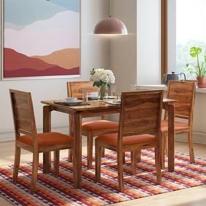Catria - Oribi 4 Seater Dining Table Set (Teak Finish, Burnt Orange) by Urban Ladder - Design 1 Full View - 232482