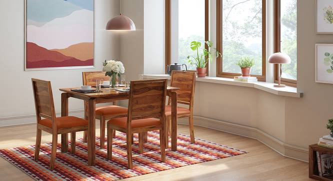 Catria - Oribi 4 Seater Dining Table Set (Teak Finish, Burnt Orange) by Urban Ladder