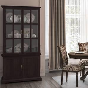"Eleanor 78"" Tall Display Cum Crockery Cabinet (Brown Oak Finish) by Urban Ladder"
