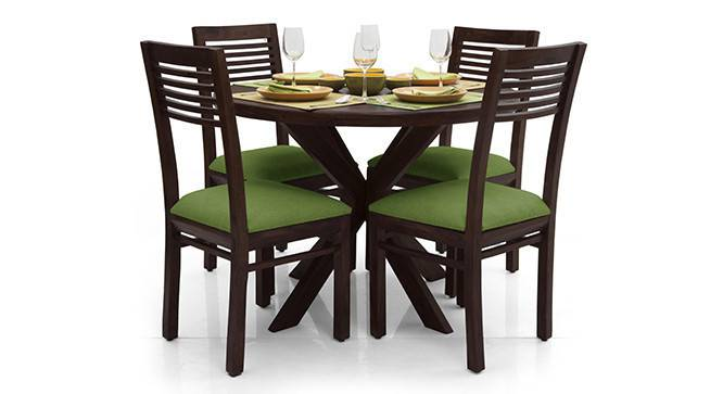 Liana - Zella 4 Seater Dining Table Set (Mahogany Finish, Avocado Green) by Urban Ladder - - 23253